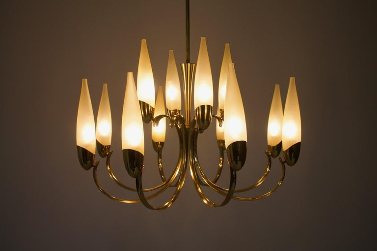 Large Glass and Brass Chandelier, 1950s For Sale 3