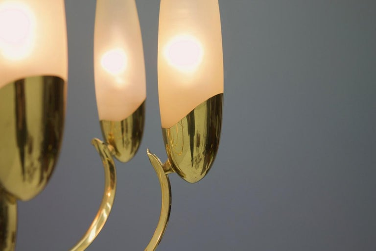 Mid-Century Modern Large Glass and Brass Chandelier, 1950s For Sale
