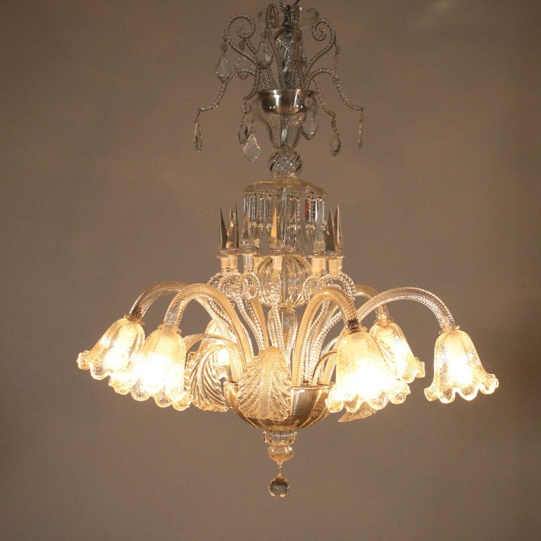 Mid-Century Modern Large Glass Chandelier Murano, Italy, First Half of the 1900s For Sale