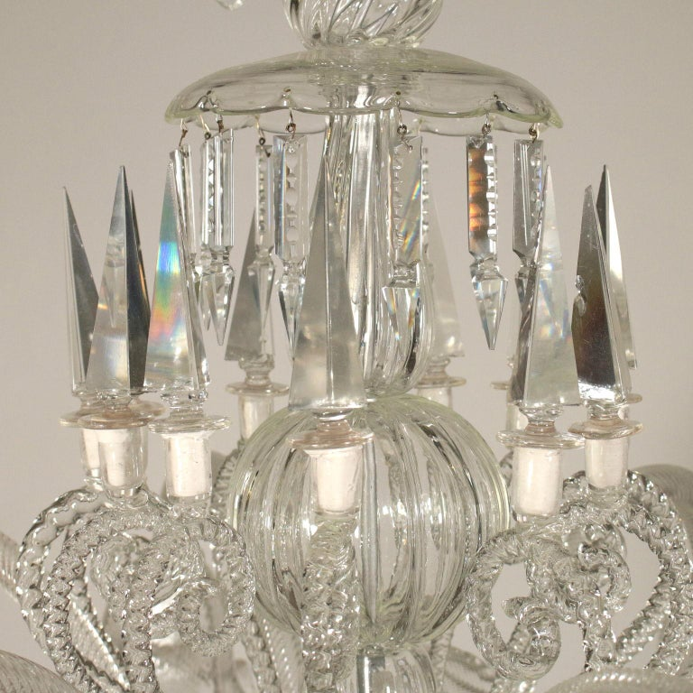 Large Glass Chandelier Murano, Italy, First Half of the 1900s In Fair Condition For Sale In Milano, IT