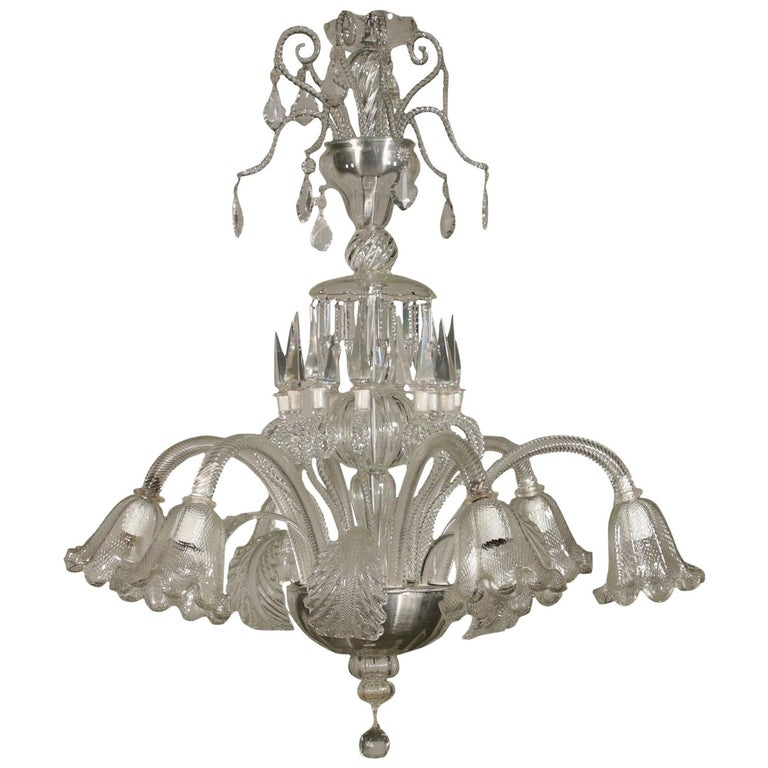 Large Glass Chandelier Murano, Italy, First Half of the 1900s For Sale