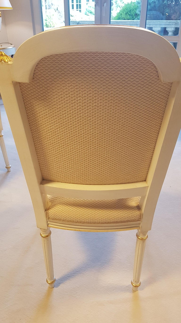 Large Glass Dining Room Set with White and Gold Stooling For Sale 3