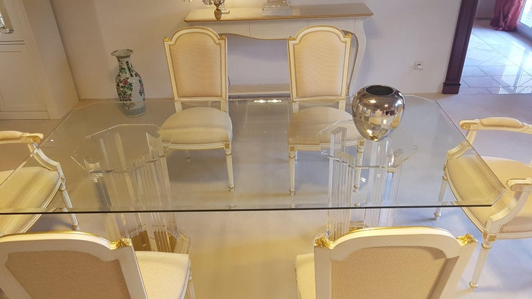 Modern Large Glass Dining Room Set with White and Gold Stooling For Sale