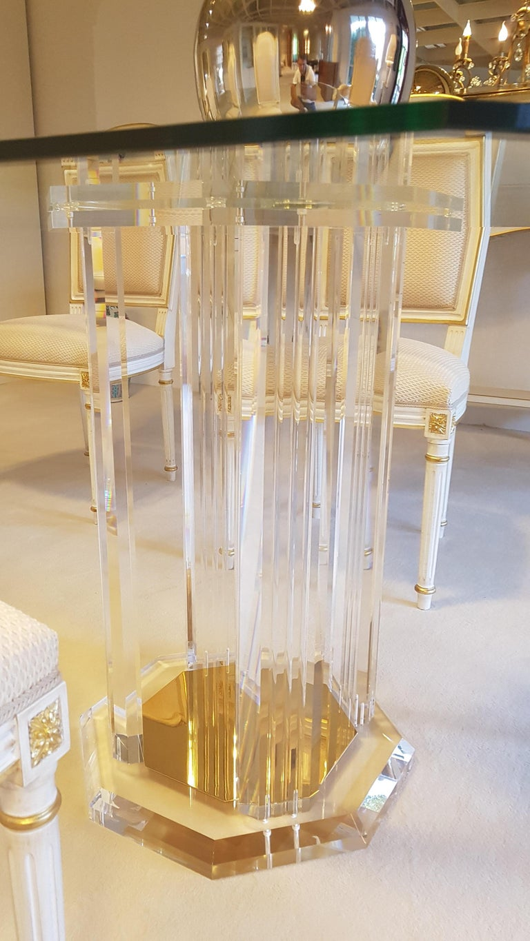 German Large Glass Dining Room Set with White and Gold Stooling For Sale