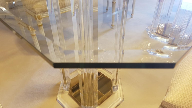 Hand-Crafted Large Glass Dining Room Set with White and Gold Stooling For Sale