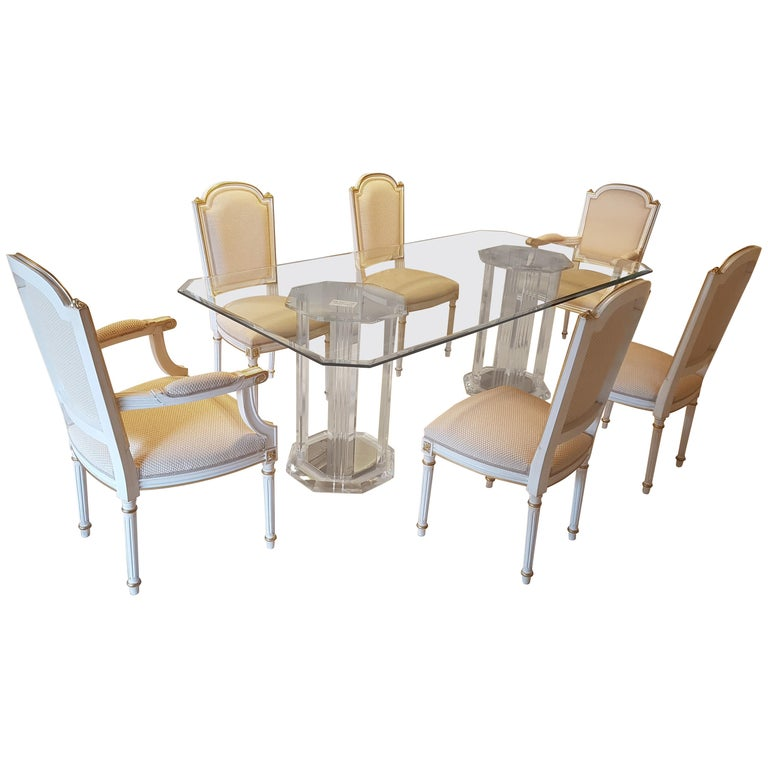 Large Glass Dining Room Set with White and Gold Stooling For Sale