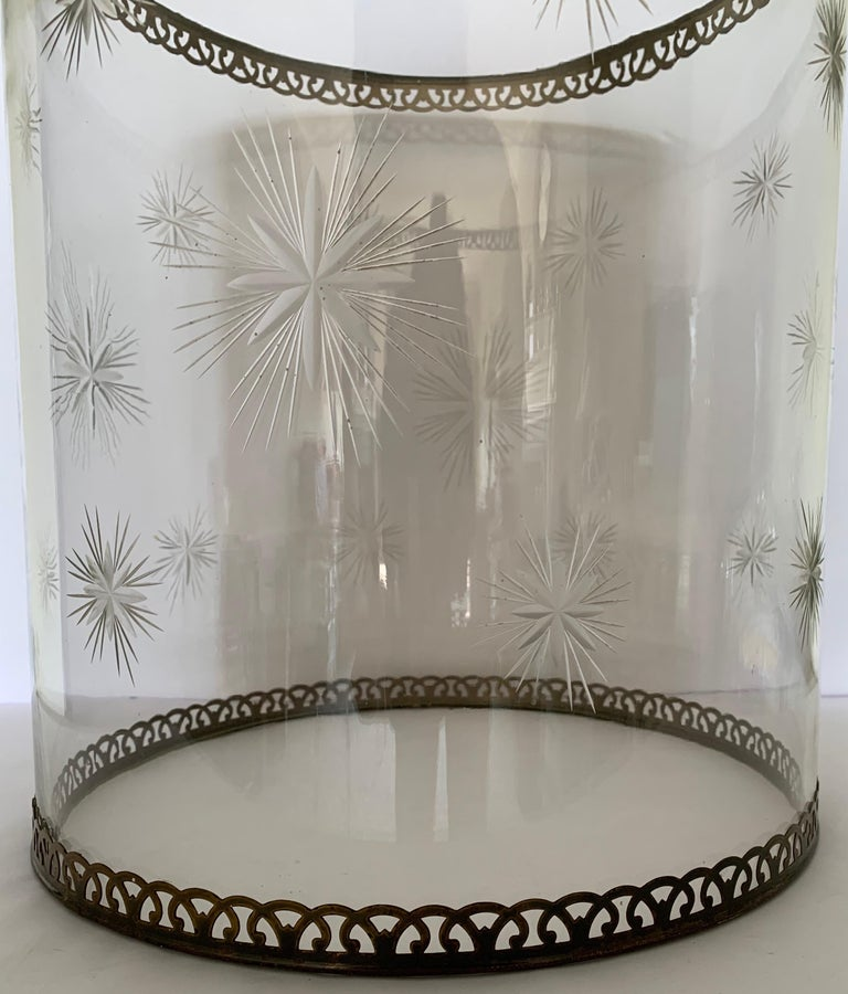 Etched Star Glass Hurricane For Sale 6