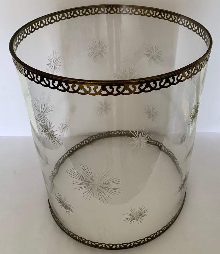 Large etched glass star motif hurricane. Removable pierced brass trim. No males mark.