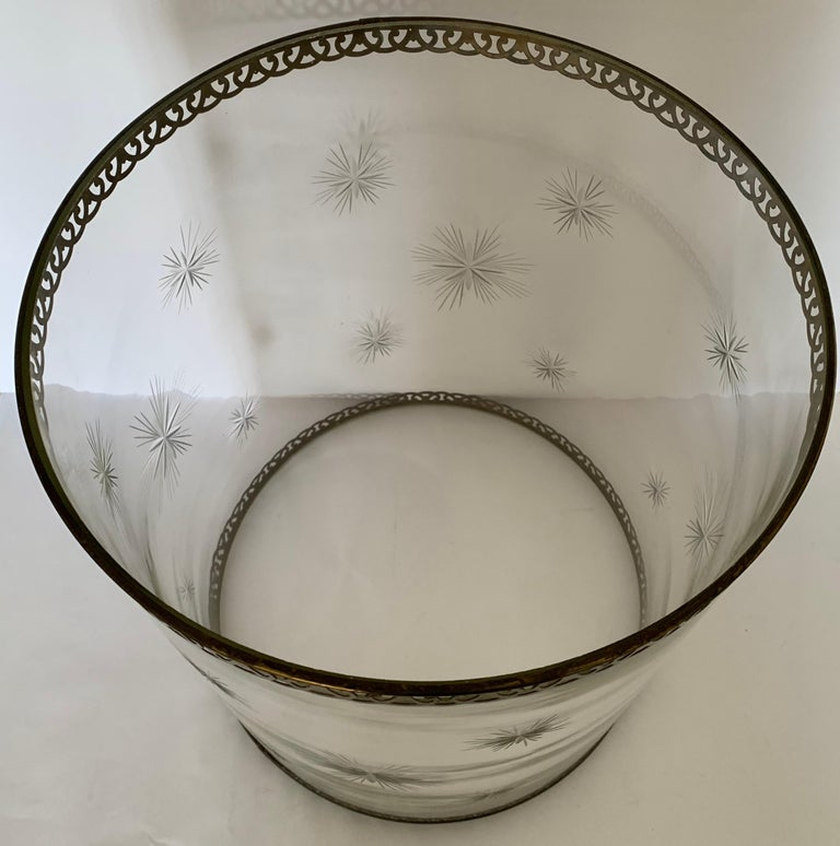 Mid-20th Century Etched Star Glass Hurricane For Sale