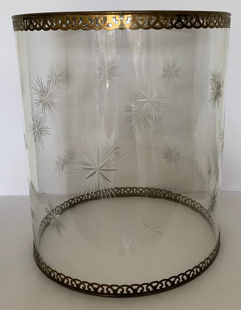 Etched Star Glass Hurricane For Sale 2