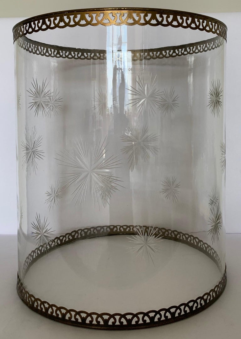 Etched Star Glass Hurricane For Sale 3