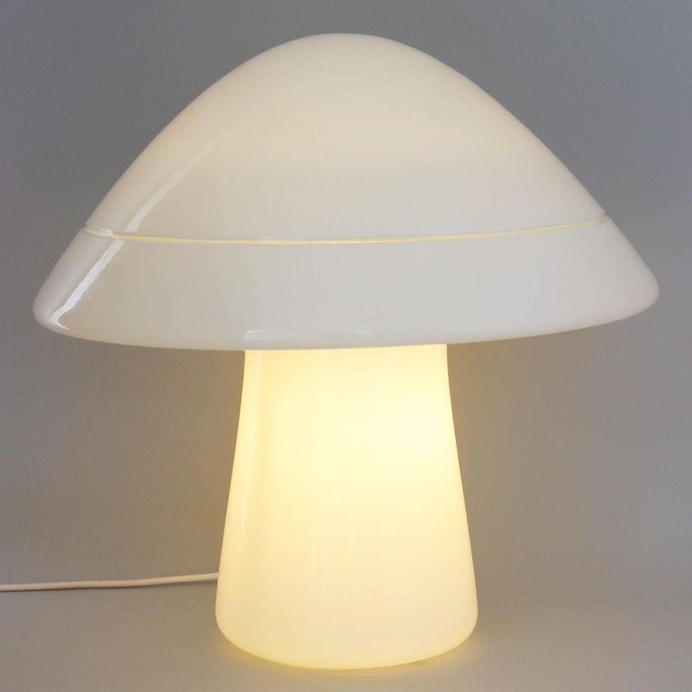 Milk Glass Large Glass Mushroom Lamp For Sale