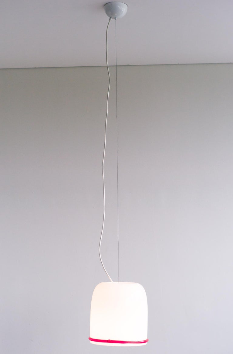 Enameled Large Glass Pendant by Ettore Sottsass for Vistosi For Sale