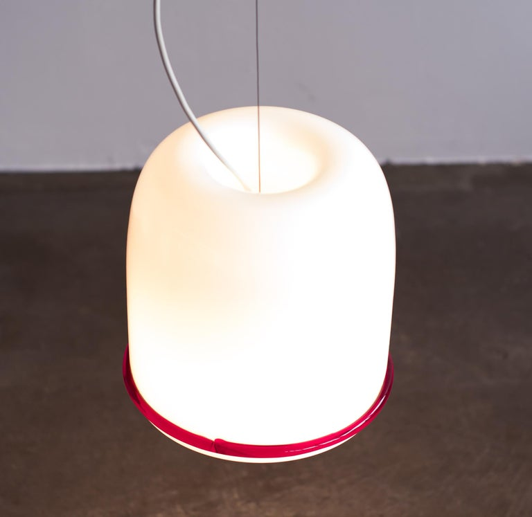 Large Glass Pendant by Ettore Sottsass for Vistosi In Good Condition For Sale In Dronten, NL
