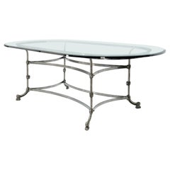 Large Glass Racetrack Oval Top Dining Table