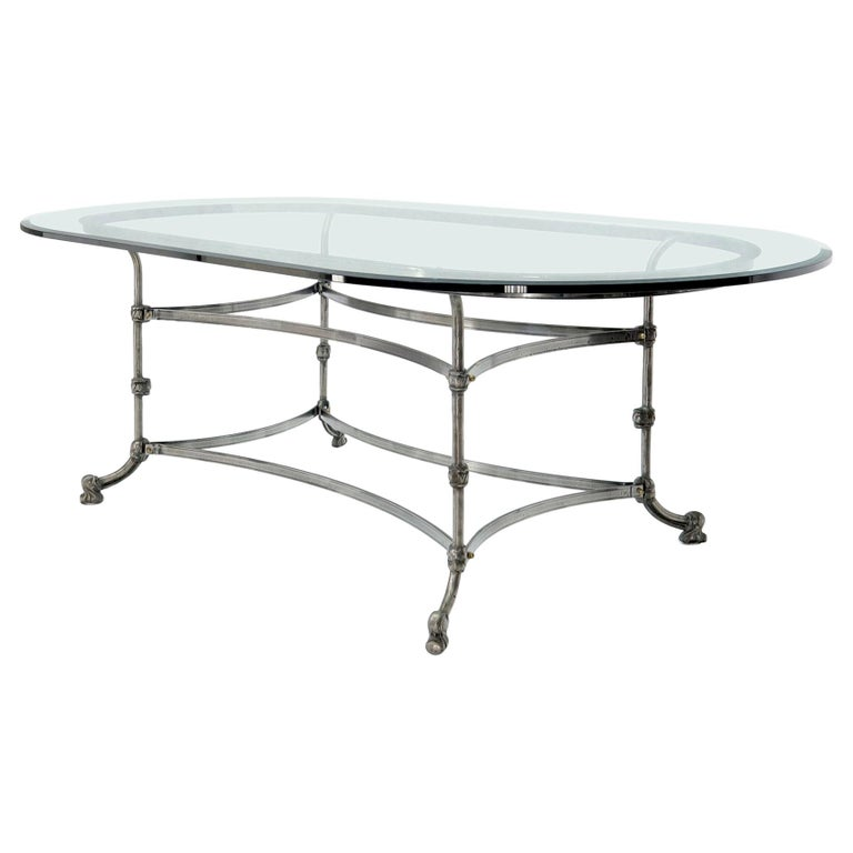 Large Glass Racetrack Oval Top Dining Table   For Sale