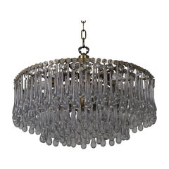Large Glass Tear Drop Chandelier Attributed to E.Palme, circa 1960s
