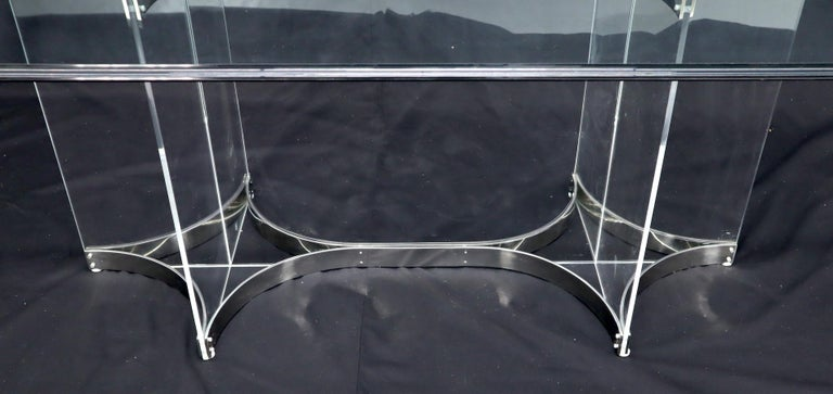 Large Glass Top Lucite & Stainless Base Rectangle Dining Table w/ Rounded Corner For Sale 3