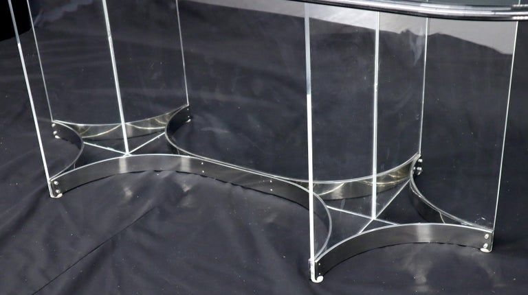 Large Glass Top Lucite & Stainless Base Rectangle Dining Table w/ Rounded Corner For Sale 4