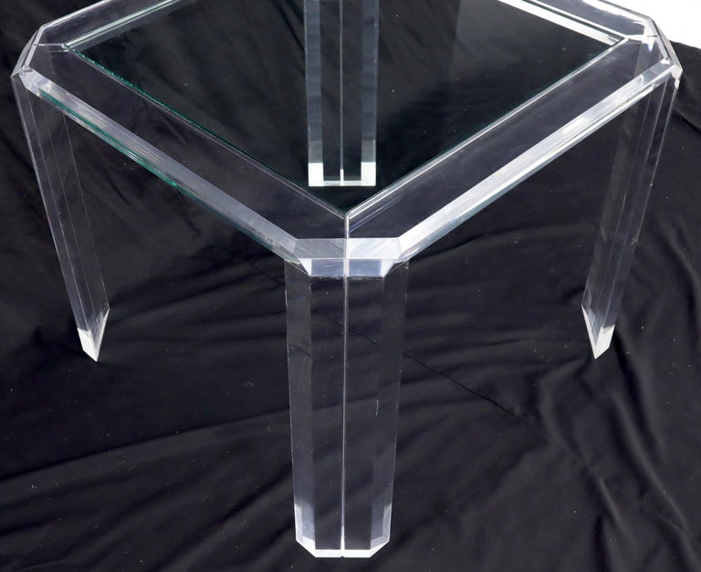 Large Glass Top Lucite & Stainless Base Rectangle Dining Table w/ Rounded Corner For Sale 6