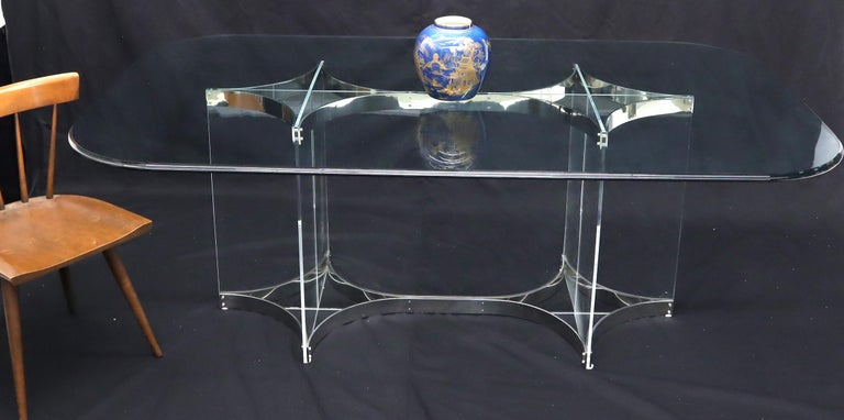 Mid-Century Modern Lucite and polished stainless steel base 3/4