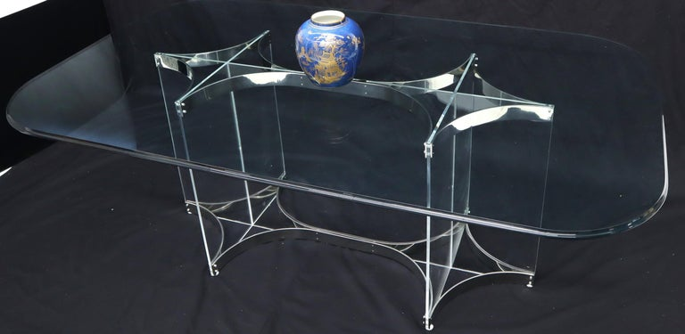 Italian Large Glass Top Lucite & Stainless Base Rectangle Dining Table w/ Rounded Corner For Sale