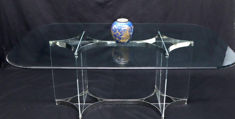 Large Glass Top Lucite & Stainless Base Rectangle Dining Table w/ Rounded Corner In Good Condition For Sale In Rockaway, NJ