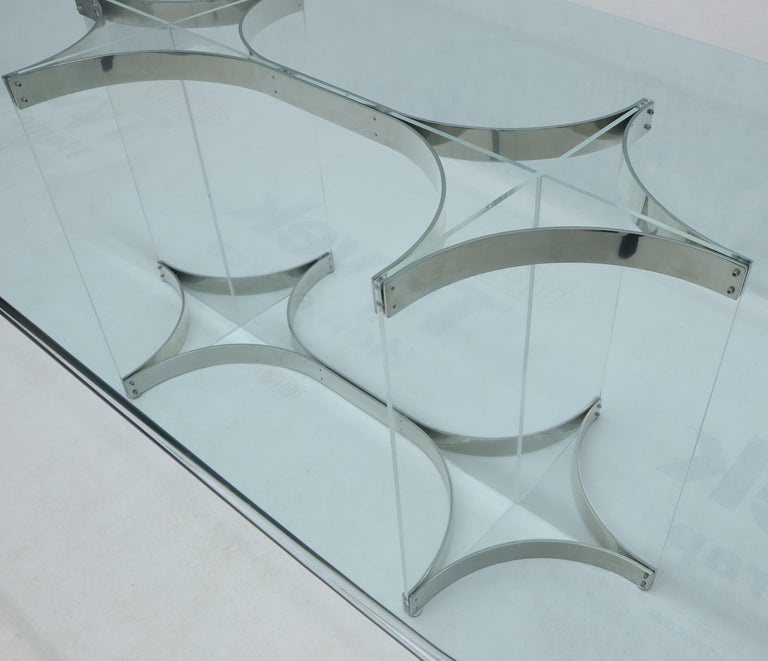 20th Century Large Glass Top Lucite & Stainless Base Rectangle Dining Table w/ Rounded Corner For Sale