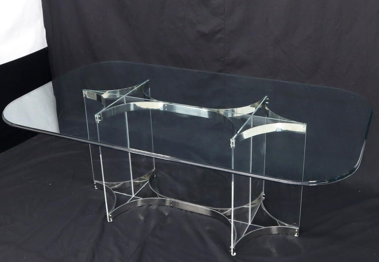 Large Glass Top Lucite & Stainless Base Rectangle Dining Table w/ Rounded Corner For Sale 1