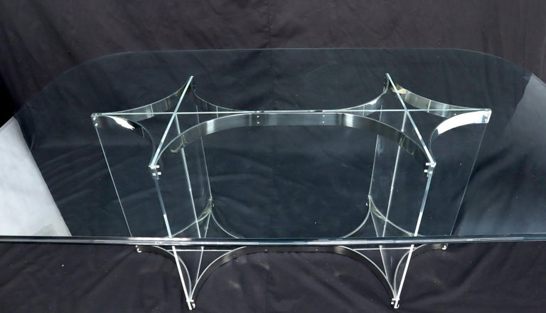 Large Glass Top Lucite & Stainless Base Rectangle Dining Table w/ Rounded Corner For Sale 2