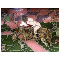 Large Glass Window with Horse Rider