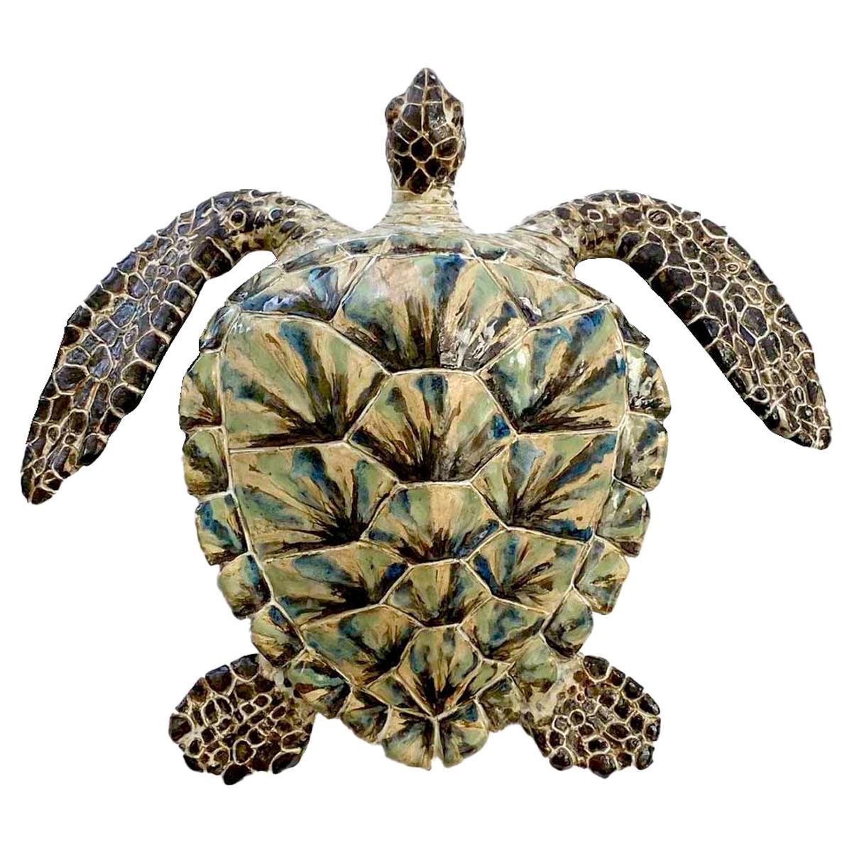 Large Glazed Ceramic Turtle Sculpture