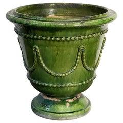 Large Glazed Earthenware Castelnaudary-Style Planter Pot from France