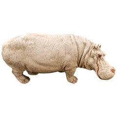 Large Glazed Italian Terracotta Hippopotamus