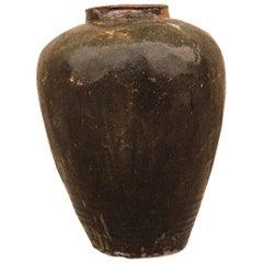 Large Glazed Pottery Asian Wine Jar