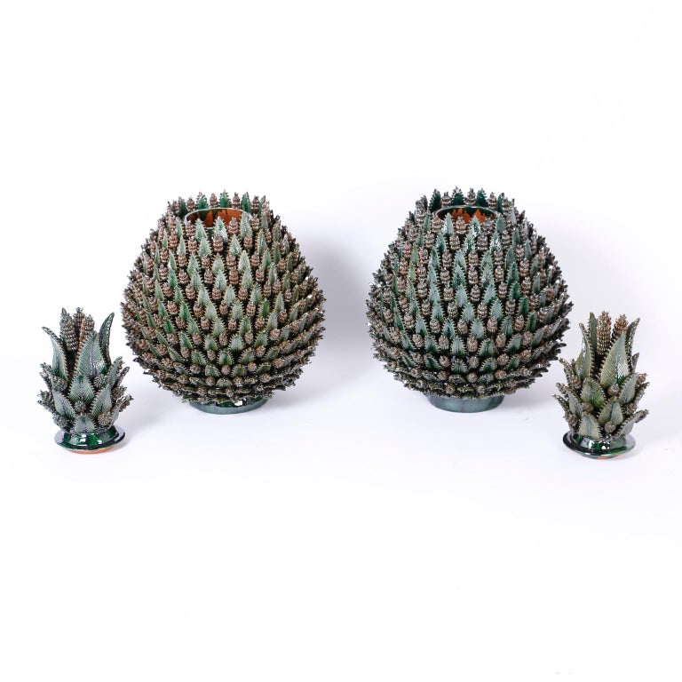 Large Glazed Terracotta or Pottery Lidded Pineapple Jars or Urns For Sale 3