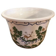 Large Glazed Terracotta Italian Hand Painted Jardinière
