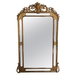Large Glazing Beads Mirror in Giltwood Empress Eugenie's Head Early 19th Century