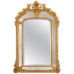 Large Glazings Beads Louis XVI Style Mirror in Giltwood, circa 1880