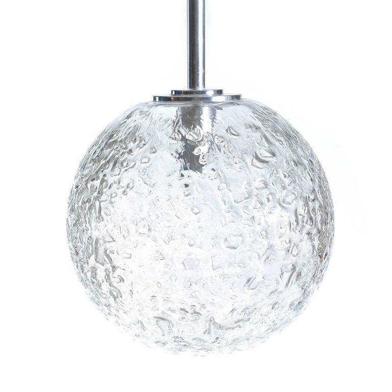 Large Globe Glass Ceiling Light From Doria Germany Circa 1970