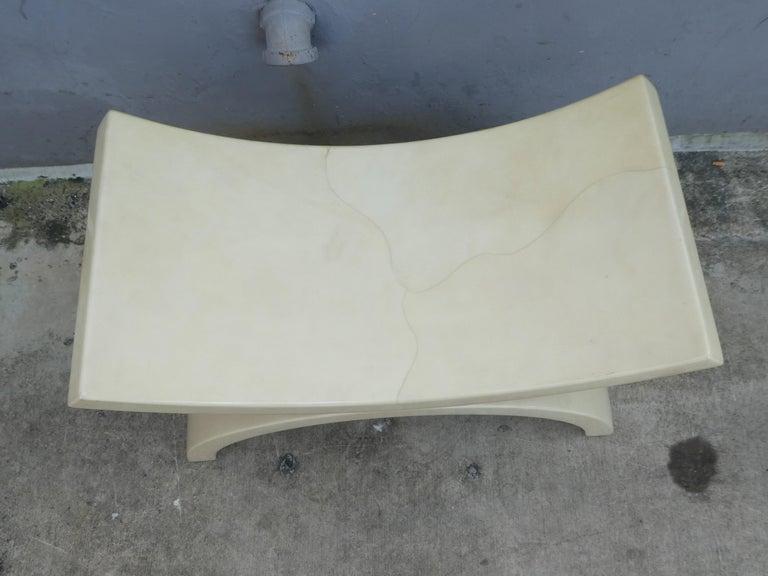 Large 1970s tan goatskin bench or stool. Alibaba shaped design.