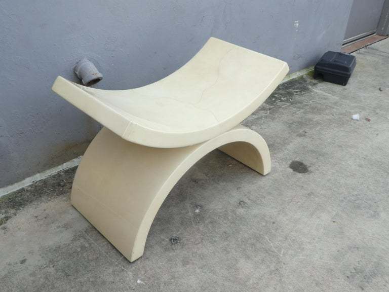 Mid-Century Modern Large Goatskin Alibaba Style Tan Bench or Stool For Sale