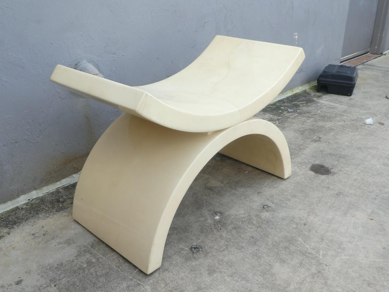 Large Goatskin Alibaba Style Tan Bench or Stool In Good Condition For Sale In Ft. Lauderdale, FL