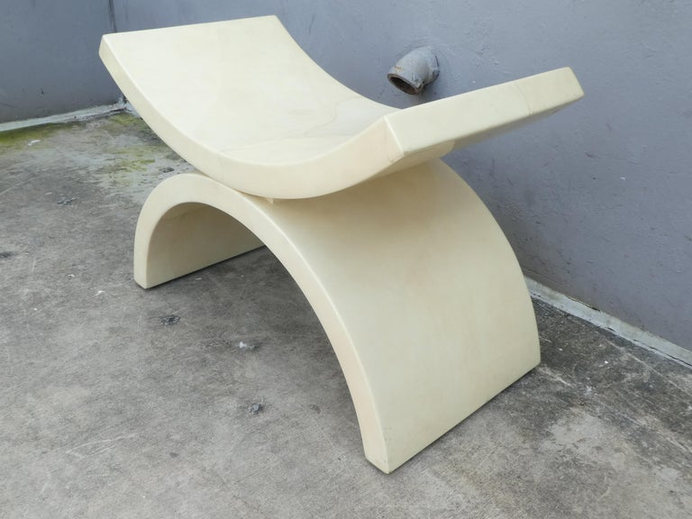 20th Century Large Goatskin Alibaba Style Tan Bench or Stool For Sale