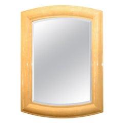 Large goatskin wall mirror attb to Karl Springer