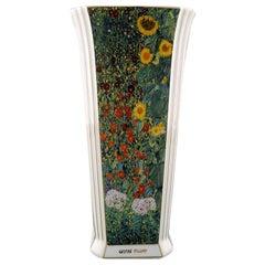 Large Goebel Vase in Porcelain with Gustav Klimt Floral Motif