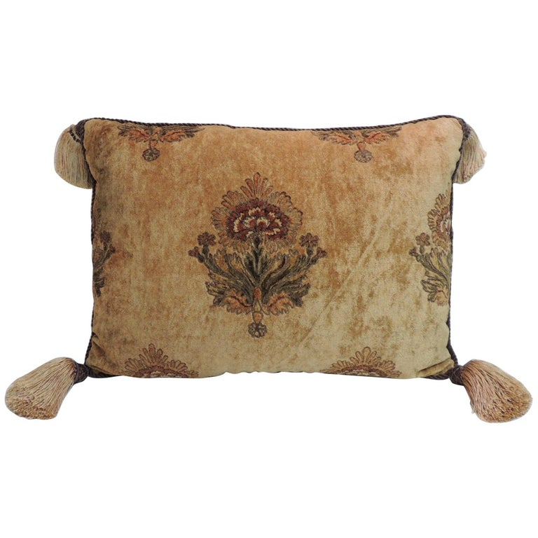 Large Gold and Brown Italian Embroidered Velvet Floral Decorative Pillow For Sale