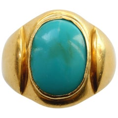 Large Gold and Cabochon Turquoise Ring