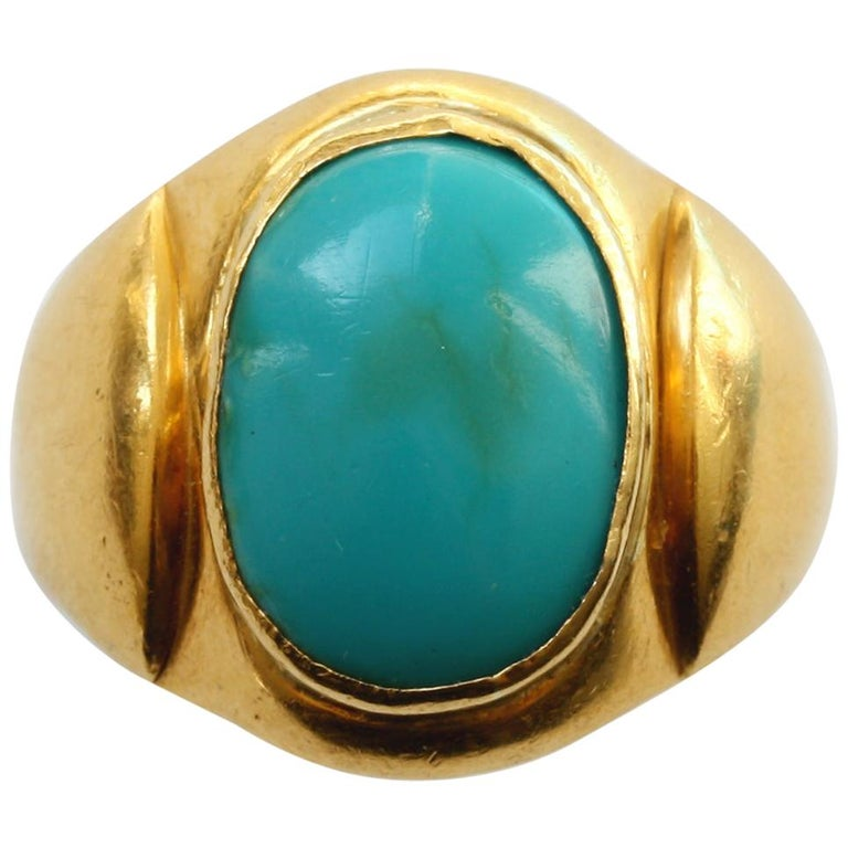 Large Gold and Cabochon Turquoise Ring For Sale