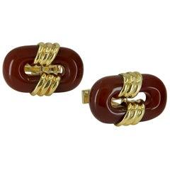 Large Gold and Carnelian Cartier Cufflinks